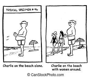 Charlie on the beach with women around.