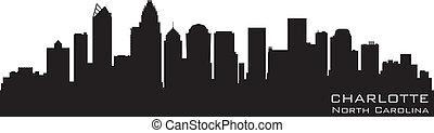 charlotte, 北卡羅來納, skyline., 詳細, 矢量, 黑色半面畫像