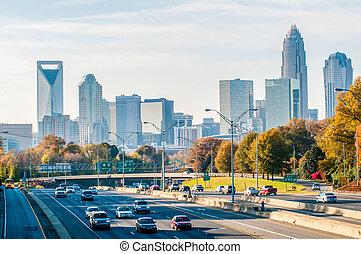 charlotte, carolina norte, skyline, durante, outono,...