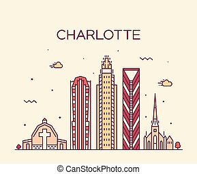 Charlotte city skyline, North Carolina, USA vector