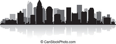 Charlotte city skyline silhouette - Charlotte USA city ...