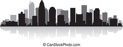 Charlotte city skyline silhouette - Charlotte USA city...