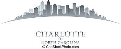 charlotte, noorden, stad, illustratie, silhouette., skyline,...