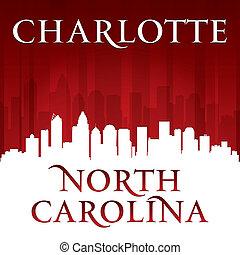 charlotte, nord, horizon ville, fond, silhouette, rouges, caroline