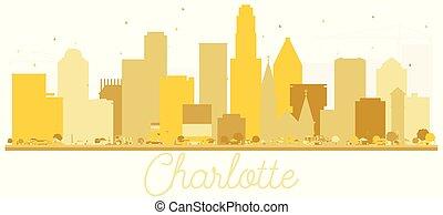 charlotte, nord, usa, doré, silhouette., horizon, ville, caroline