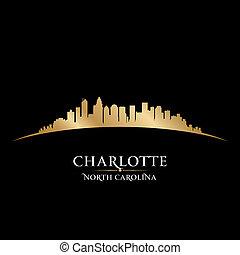 charlotte, nord, ville, illustration, silhouette., horizon,...