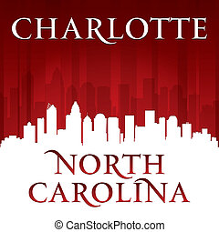 Charlotte North Carolina city skyline silhouette red background