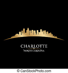 Charlotte North Carolina city skyline silhouette. Vector illustration