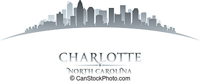 Charlotte North Carolina city skyline silhouette. Vector...