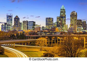 Charlotte, North Carolina City Skyline - Charlotte, North...