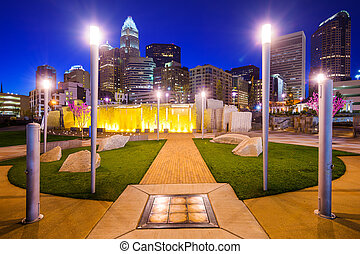 Charlotte North Carolina Park and Skyline