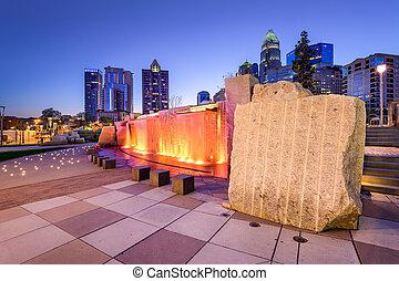 Charlotte Park Skyline - Charlotte, North Carolina, USA ...