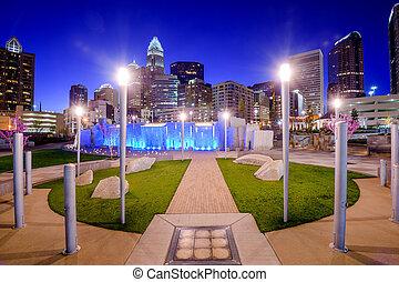 Charlotte Park - Charlotte, North Carolina, USA uptown...