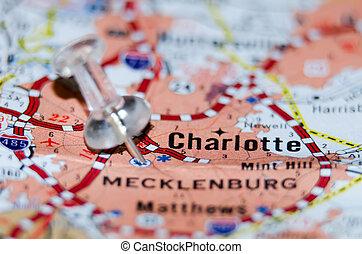 charlotte, qc, cidade, alfinete, mapa