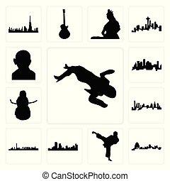 charlotte, set, lichaam, iconen, schop, scène, denver, misdaad, karate, sneeuwpop, las vegas, houston, gandhi, missouri, skyline, las