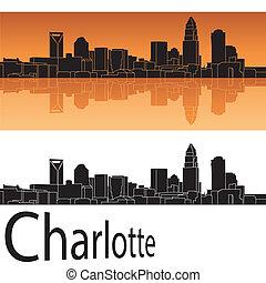 Charlotte skyline in orange background in editable vector...