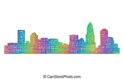 Charlotte skyline silhouette - multicolor line art