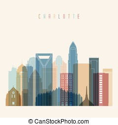 Charlotte state North Carolina, skyline detailed silhouette.