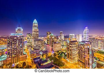Charlotte Uptown Skyline - Charlotte, North Carolina, USA...