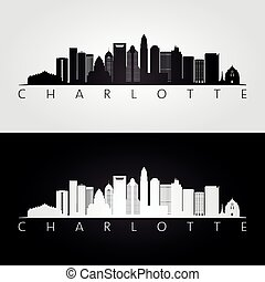 Charlotte usa skyline and landmarks silhouette