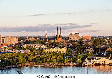 Charlottetown Churches at Dawn - View of Charlottetown,...