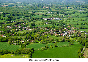 Charlwood village, Surrey, Aerial View - View from an...