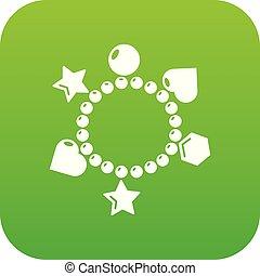 Charm bracelet icon green vector