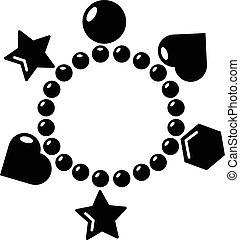 Charm bracelet icon , simple style