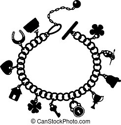 Charm bracelet, silhouette on a white background, EPS 10, AI, JPEG