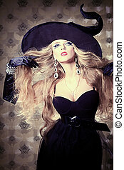 charm - Charming halloween witch over vintage background.