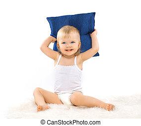 charmant, carino, piccola ragazza, con, uno, cuscino