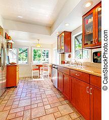 charmant, ciliegia, legno, cucina, con, piastrella, floor.