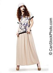 charmant, mode, coup, casquette, mode, femme, studio, robe, posing.