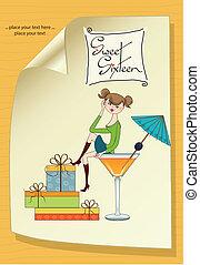 charmant, séance, jeune, anniversaire, bord, verre., séduisant, girl, carte