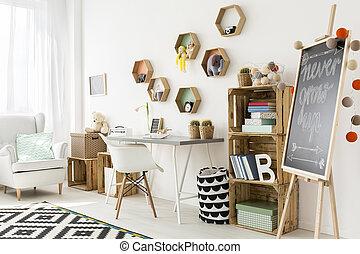 charmant, stanza moderna, bambino