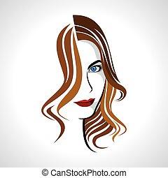 charme, brun, girl, cheveux