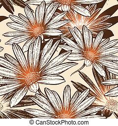 charme, eps10, illustration., résumé, papier peint, seamless, fleurs, vecteur, hand-drawing.