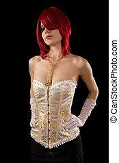 charme, femme, jeune, corset, séduisant