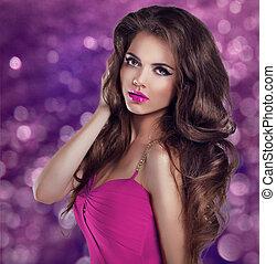 charme, femme, makeup., modèle, longs cheveux, ondulé, poser, clignotant, fond, sexy, portrait., girl, mode, noël
