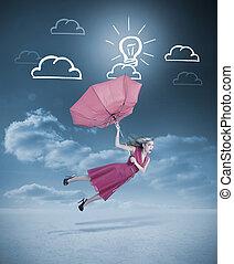 charme, parapluie, femme, voler, rouges