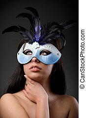 charme, porter, femme, fait varier pas, masque
