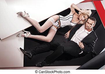 charme, style, coup, de, a, jeune couple