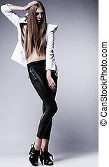 charme, style, femme, beauté, jeune, jambières, noir,...