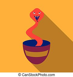Charmed Cobra Snake Coming Out Of The Basket
