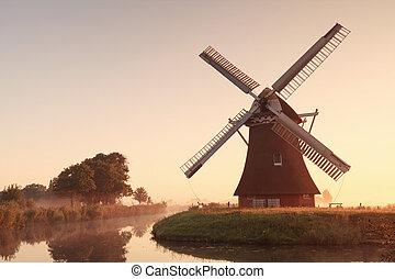 charmer, éolienne, par, rivière, à, levers de soleil