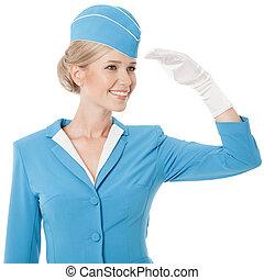 charmer, hôtesse, habillé, dans, uniforme bleu, blanc, fond