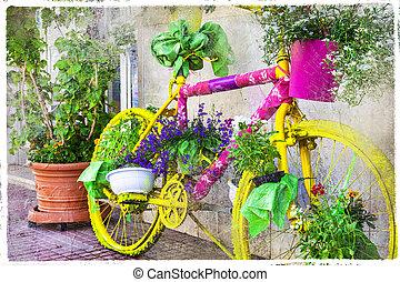 charmer, rue, décoration, -, floral, vélo, artistique, vendange, image