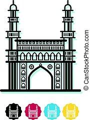 Charminar City Icon Illustration as EPS 10 File