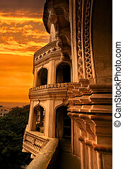 One of the Minars of Charminar against evening sky