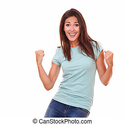 Charming adult woman celebrating her victory